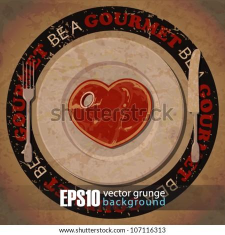 EPS10 vintage background with steak-heart