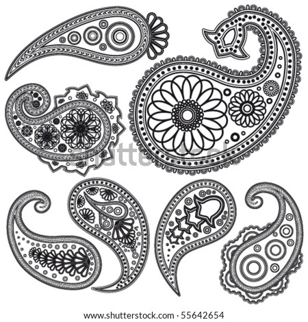 stock vector : Eps Vintage Paisley  patterns for design.