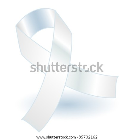 EPS 10: White awareness ribbon over a grey background with drop shadow, simple and effective.