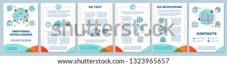 EQ brochure template layout. Ability to control emotions. Test, development. Flyer, booklet, leaflet print design, illustrations. Vector page layouts for magazines, annual reports, advertising posters