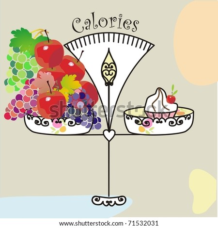 equal calories in a small cake and in a lot of fruits - stock vector