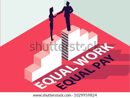 Equal work equal pay isometric 3D business concept