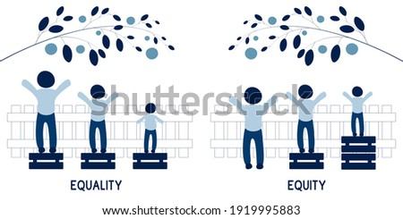 Equality and Equity Concept Illustration. Human Rights, Equal Opportunities and Respective Needs. Modern Design Vector Illustration  Сток-фото ©