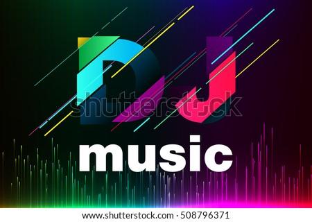 Equalizer background. Dj music. Text DJ.