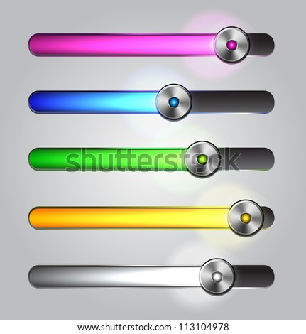 Equalizer glossy glowing track bar. Vector media player elements.