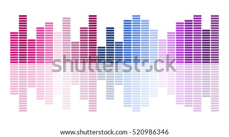 Equalizer scale with reflection.Colorful musical bar showing volume on white  background.Vector illustration.