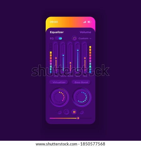 Equalizer theme smartphone interface vector template. Mobile app page purple design layout. Nightmode screen. Flat UI for application. Audio parametric setting Phone display Photo stock ©