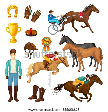 Equestrian cartoon elements collection with horses riders medal cup horseshoe cap boots and gloves isolated vector illustration