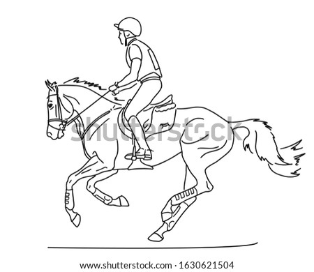 Equestrian eventing. Athlete and his horse during a cross-country race.
