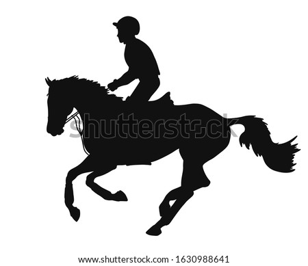 Equestrian eventing. Athlete and his horse during a cross-country race, silhouette