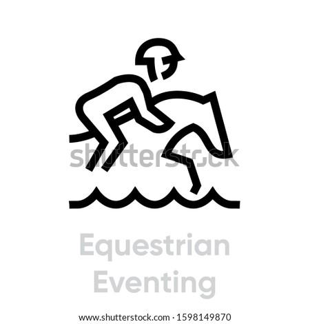 Equestrian Eventing sport icons. Editable stroke