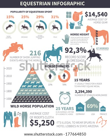 Equestrian infographic with different horse related elements and sample data Vector file organized in groups for easy editing
