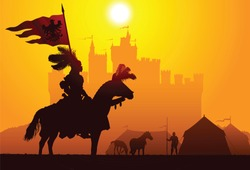 Equestrian knight with the castle on the background