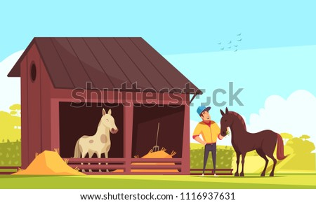 Equestrian sport composition with outdoor images of horse stable and human character feeding the stallion vector illustration