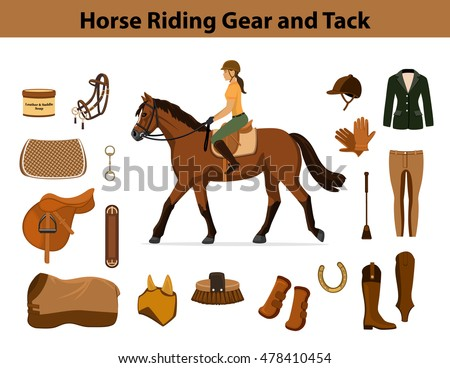 Equestrian Sport Equipment Set Horse Riding Gear And Tack Accessories Show Jacket Breeches