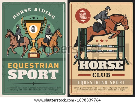 Equestrian sport, horse riding and race on hippodrome vintage posters. Vector jockeys competitions, professional ride. Horseback riding sports club grunge retro cards with rider and golden cup Foto stock ©
