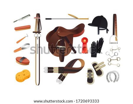 Equestrian sport items, English horse riding essentials and horse grooming tools Сток-фото ©