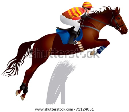Equestrian sport jumping horse and rider in vector, The Sport of Kings