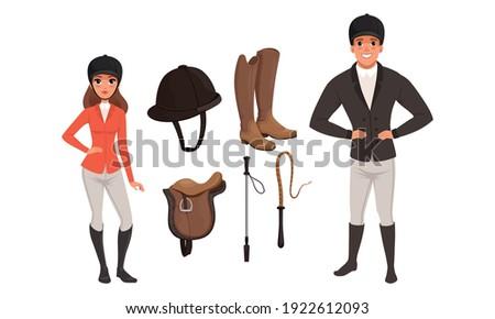 Equestrian Sport Set, Man and Woman Professional Jockeys and Sports Equipment Cartoon Style Vector Illustration Foto stock ©