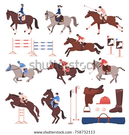 equestrian sport set of flat