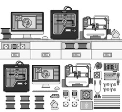 Equipment for 3D printing. Tools for printing on the table in the room. Paints, printer, computer, details isolated on white. Line icons monochrome design