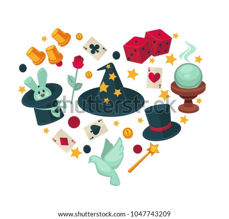 Equipment for magic show in big heart shape