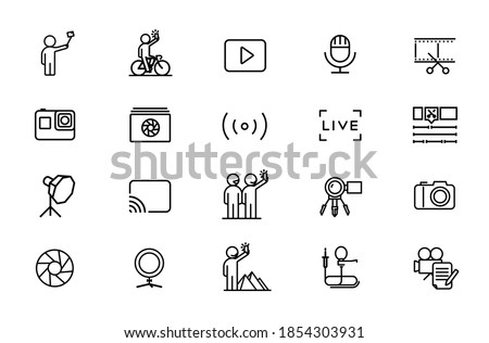 Equipment for photo-session and video-blogging. Set of vector icons with editable line. Pulsed flashes, studio light, camera, camera, lens, action camera Stock photo ©