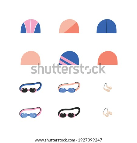 Equipment for synchronized swimming. Isolated flat vector illustration with a set of necessary equipment such as googles, nose clip and swimming cap. Artistic swimming concept.