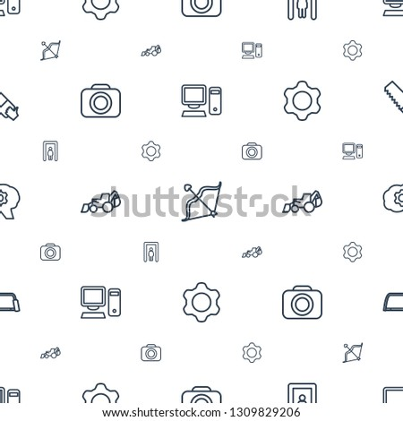 equipment icons pattern seamless white background. Included editable outline pc, bow, metal gate detector, camera, excavator, gear, hacksaw icons. equipment icons for web and mobile.