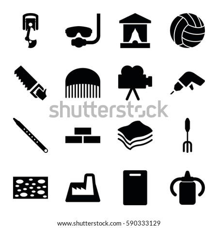 equipment icons set set of 16