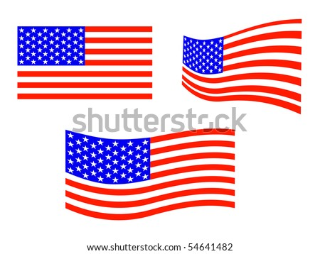 equipment of american flags - vector