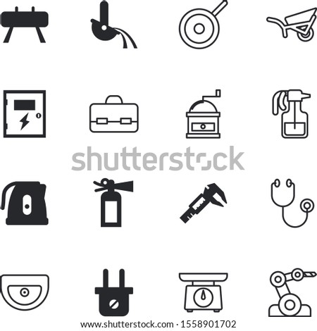 equipment vector icon set such as: house, measuring, loudspeaker, danger, kilogram, shield, ruler, remote, brief, clinical, cart, appliances, model, document, old, science, pet, stock, spring, vecto