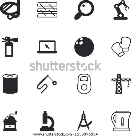 equipment vector icon set such as: robotic, draw, mechanical, loupe, rack, blank, lab, marketing, architect, beverage, preparation, play, tourism, athletic, grinder, measure, fire, caffeine, file