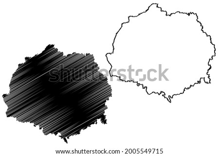 Erding district (Federal Republic of Germany, rural district Upper Bavaria, Free State of Bavaria) map vector illustration, scribble sketch Erding map Stock fotó ©