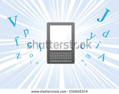Ereader floating and bursting with letters