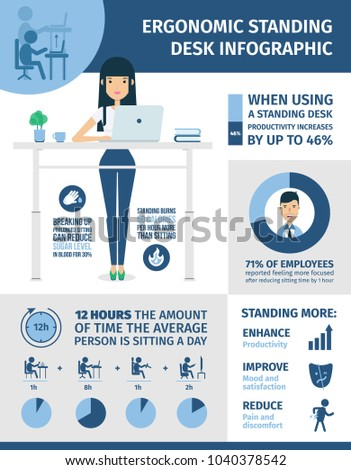 Ergonomic infographic. Standing desk in workplace, statistic about sitting disease, inactive lifestyle and insufficient physical activity.
