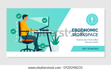 Ergonomic workspace: sitting at desk with proper posture and office equipment Photo stock ©
