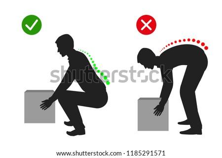Ergonomics - Silhouette of correct posture to lift
