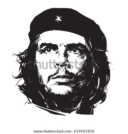 Ernesto Che Guevara. Hand drawn portrait in sketch stile. Vector illustration isolated on white background.
