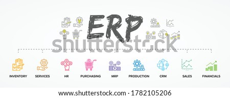 ERP - Enterprise resource planning vector structure/ module/ workflow icon construction concept on chalkboard background Stockfoto ©