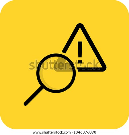 Error diagnostic sign. Alert find warning. Bug search. Caution examine. Flat 3D shadow design. yellow background black vector. product brand service label banner board display. App icon. ストックフォト ©