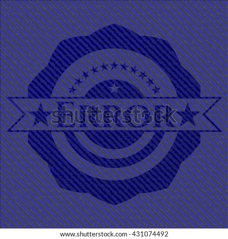 Error emblem with denim texture