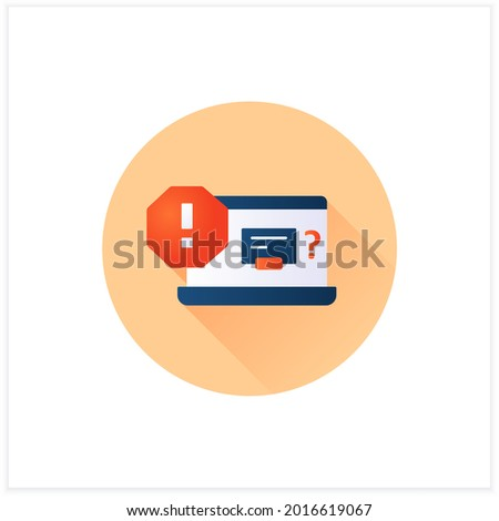 Error notification flat icon. Unusual error messages. Incorrect messages on homepage.Exclamation pointer. Warnings concept.3d vector illustration