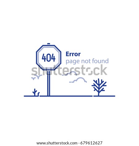 Error 404 page not found concept illustration, webpage banner, search result message, vector line design
