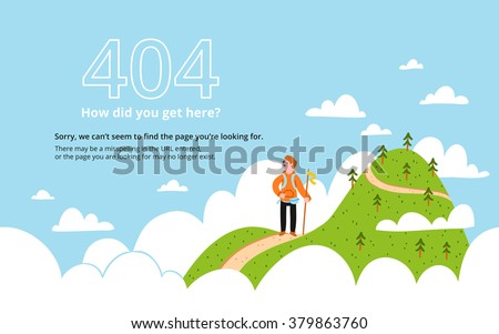 error 404 page with a mountain