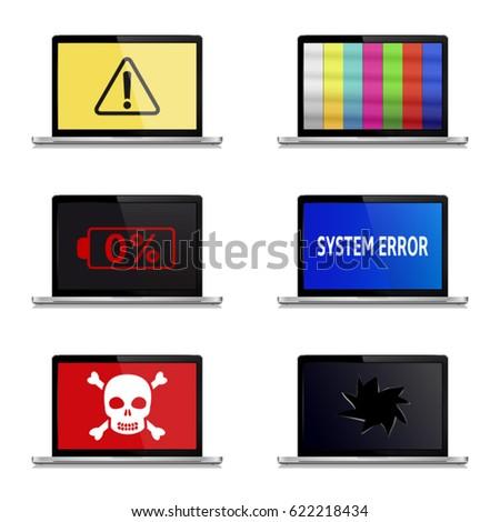 error signs on laptop screens