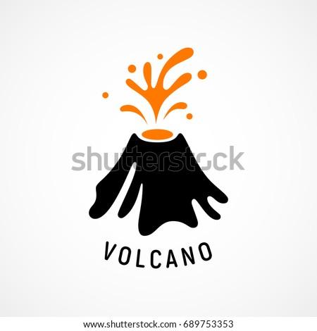 erupting volcano icon eps8
