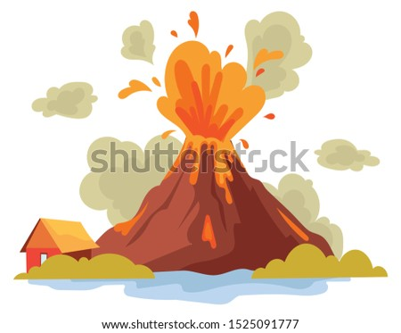 eruption of a volcano on the