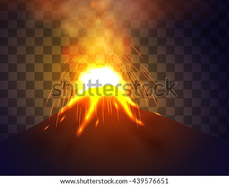Eruption volcano vector illustation on transparent background. Red lava flowing from the mountain.