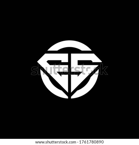 ES monogram logo with diamond shape and ring circle rounded design template Foto stock ©